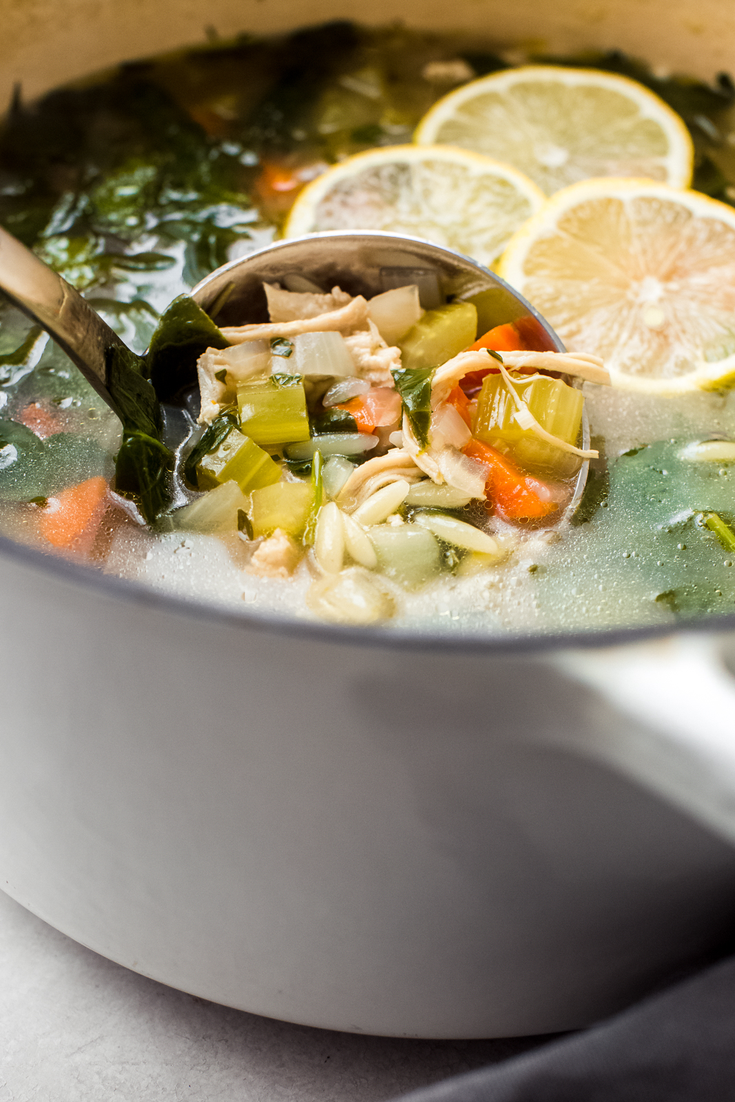 ladle in white pot filled with chicken orzo soup