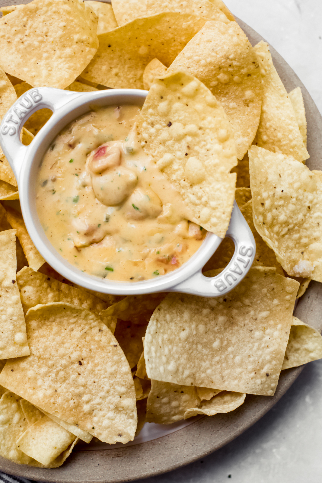 warm bowl with queso with a chip resting on the bowl