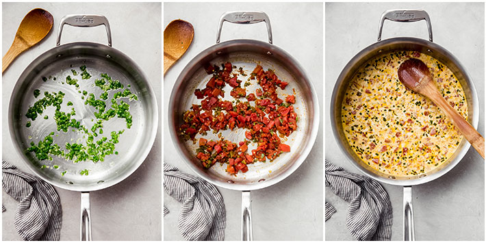 three pictures showing process on how to make queso dip