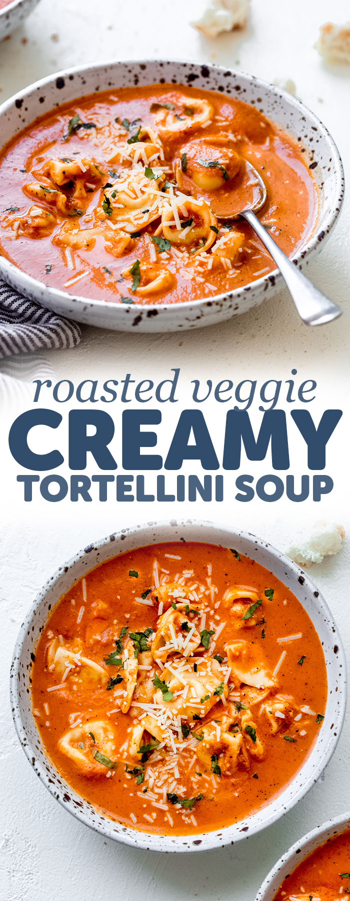 Roasted Veggie Creamy Tortellini Soup - Learn how to make the most veggie-packed creamy tortellini soup. Customize it by using veggie, cheese, or meat stuffed tortellini! #tortellinisoup #soup #roastedvegetablesoup #tortellinisoup | Littlespicejar.com