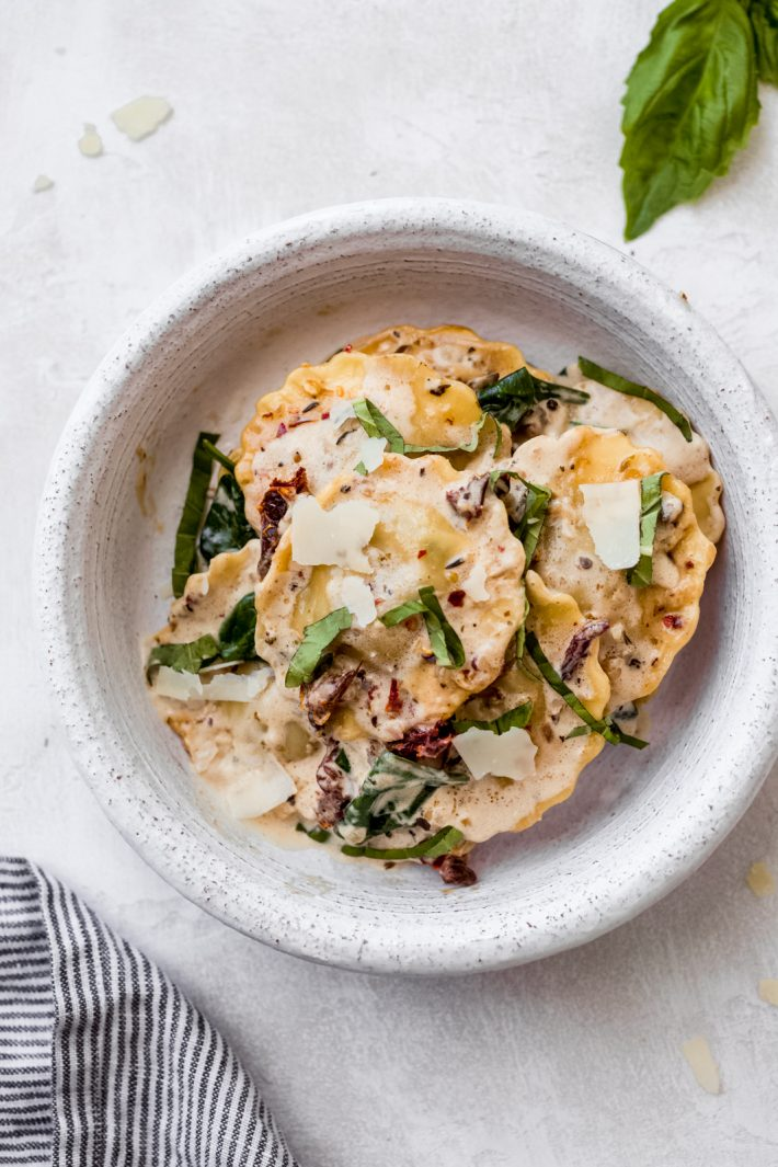 Creamy Tuscan Ravioli in a bowl