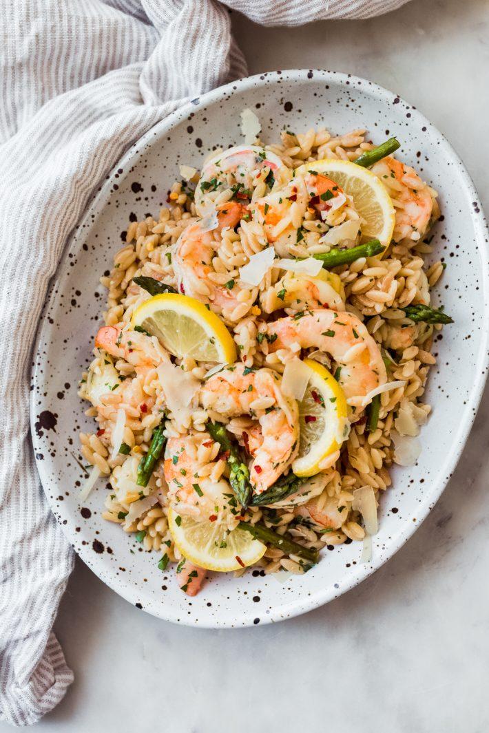 Orzo Shrimp Scampi with Asparagus