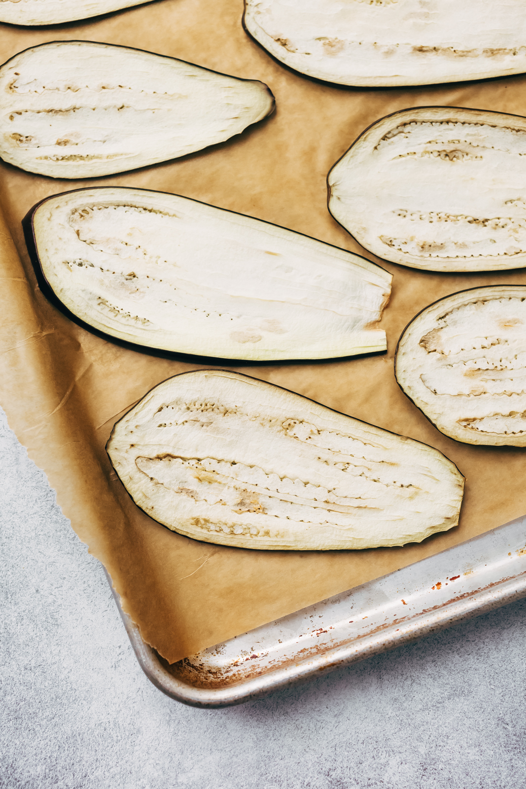 Eggplant Sheets on parchment on sheet pan