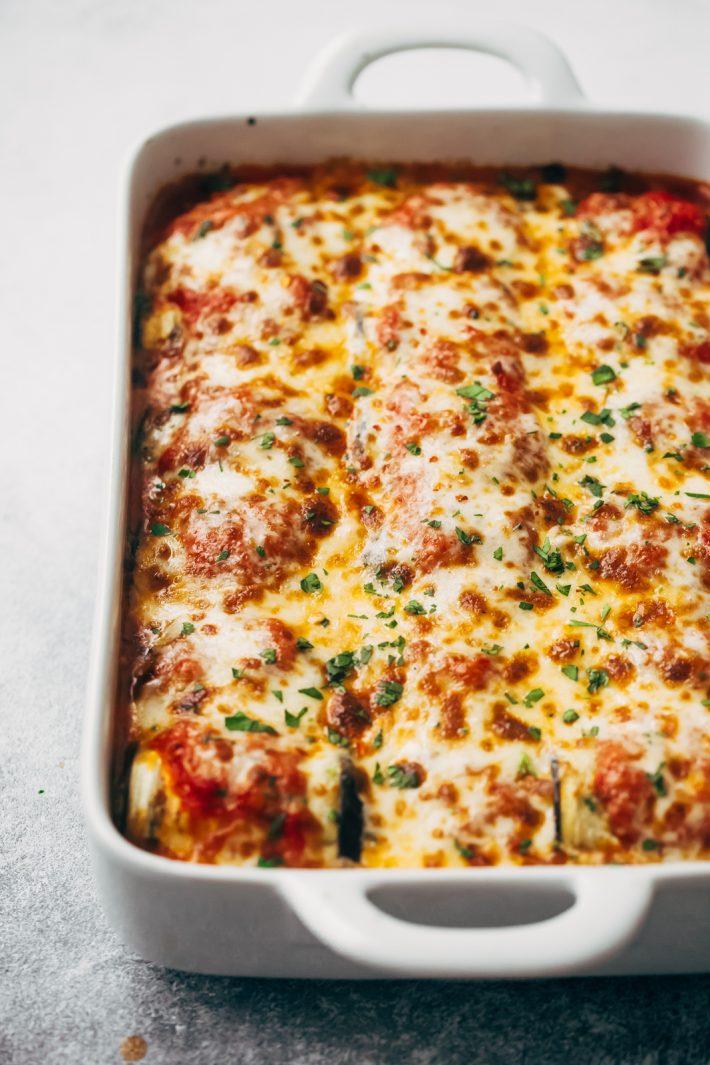 Baked Low Carb Eggplant Lasagna Roll Ups