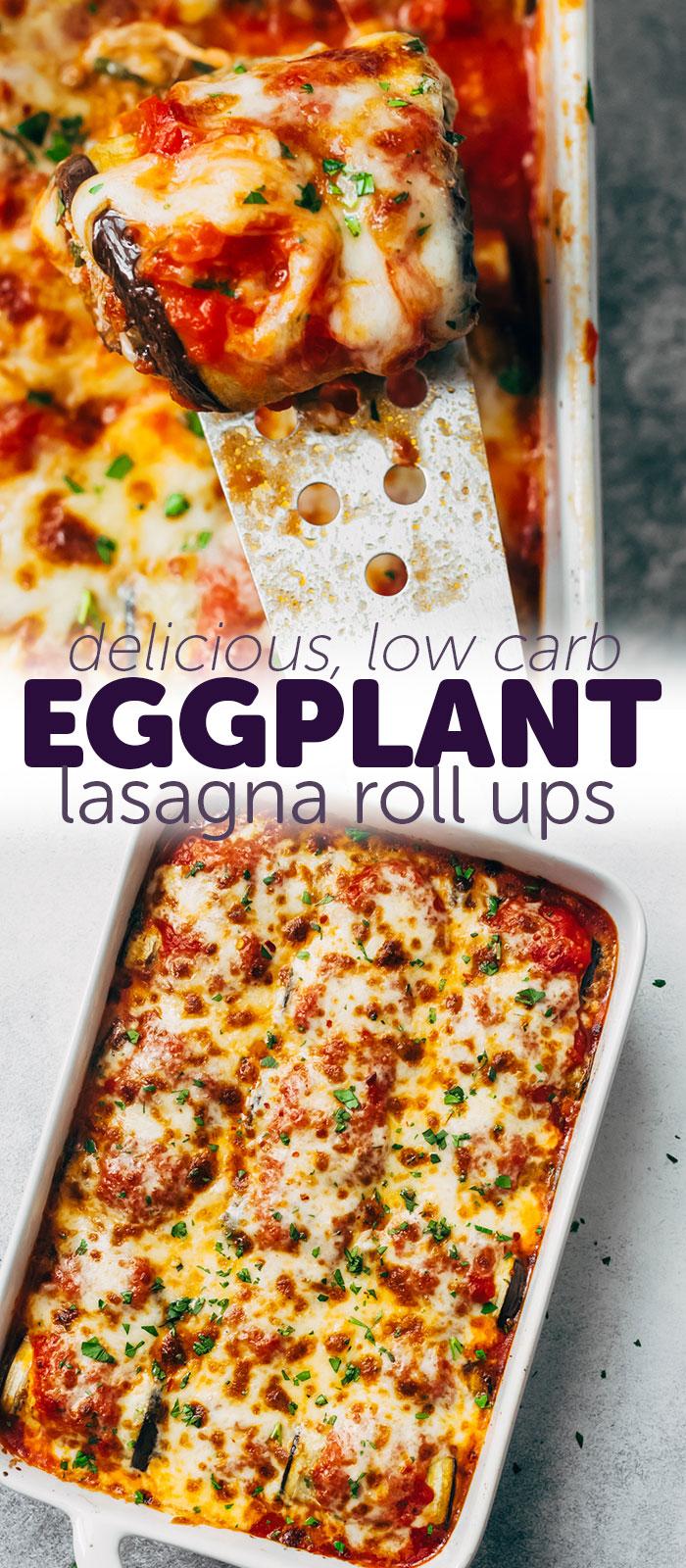 Low Carb Eggplant Lasagna Roll Ups - a healthy and lighter alternative to traditional Lasagna! #lowcarblasagna #eggplantlasagna #eggplantrollups #eggplantlasagnarollups #lowcarbdinnerideas #dinnerrecipes #lowcarbrecipes | Littlespicejar.com