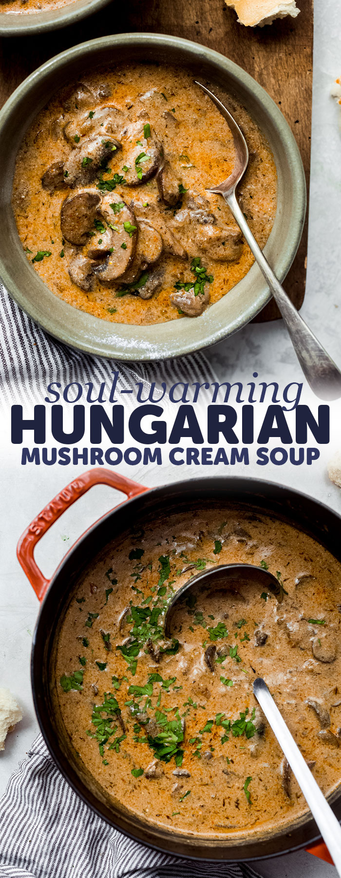 Soul-Warming Hungarian Mushroom Soup - Loaded with tons of sauteed mushrooms this soup is hearty and filling! Perfect as an appetizer for dinner or for boxed lunches! #mushroomsoup #homemadesoup #soup #souprecipes #mushroomsouprecipe | Littlespicejar.com