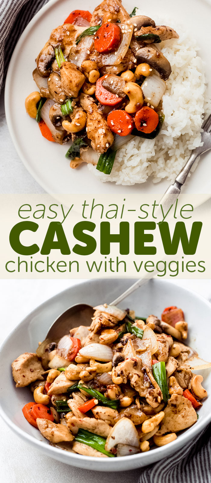 Easy Thai Cashew Chicken that takes just like your favorite Thai take out! Made with tender chicken, crisp veggies, and an addicting brown sauce! #stirfry #chickenstirfry #cashewchicken #thaicashewchicken #easychickenrecipes | Littlespicejar.com