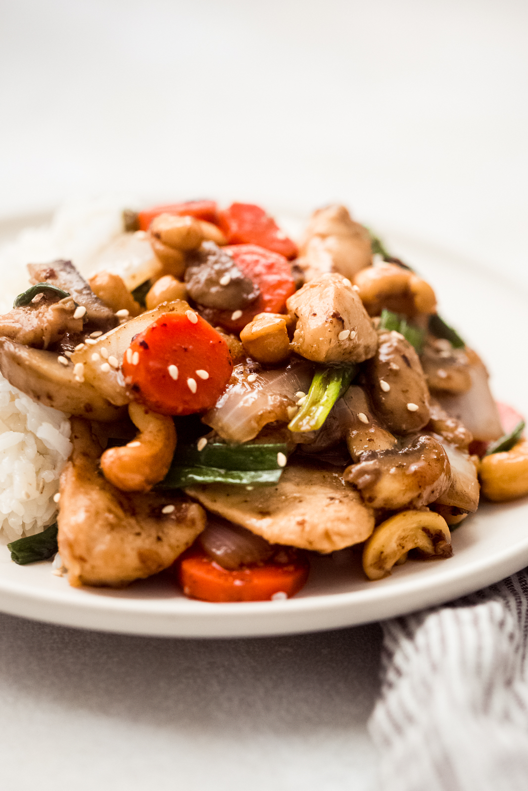 Thai Cashew Chicken with carrots, cashews, and scallions on plate