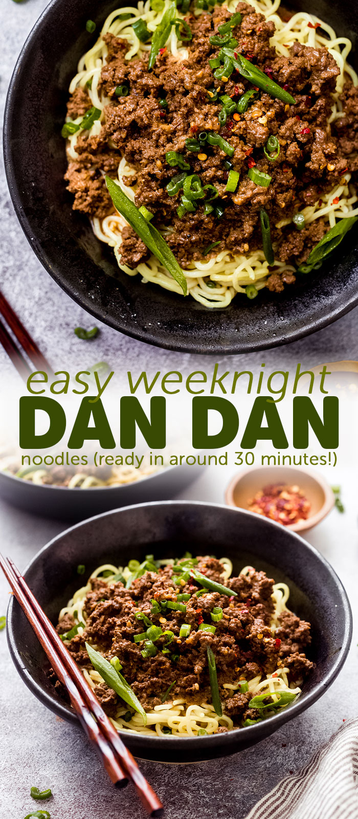 long pin for pinterest with two different dan dan noodles images