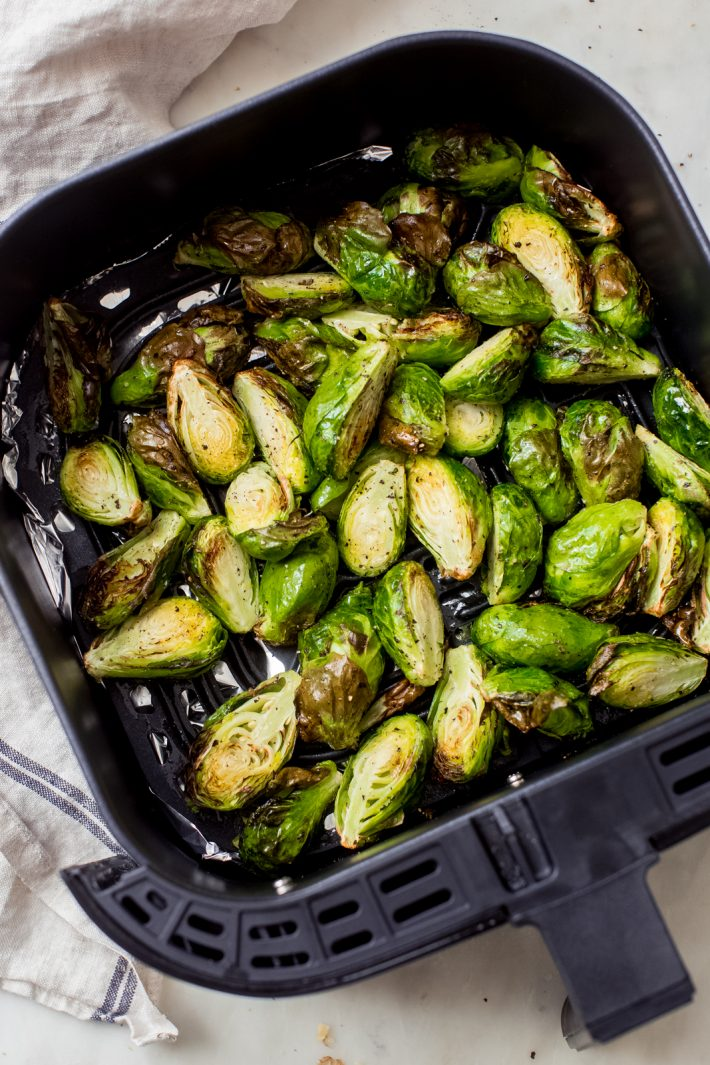 Brussels sprouts cooked in an air fryer