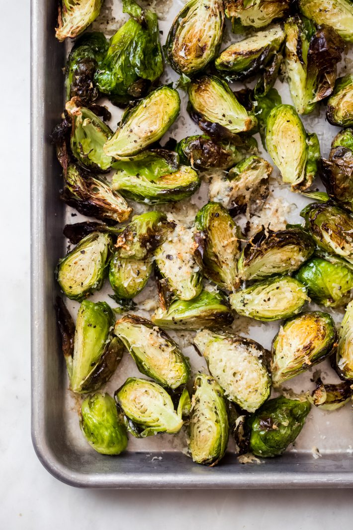 roasted Brussels sprouts on sheet pan