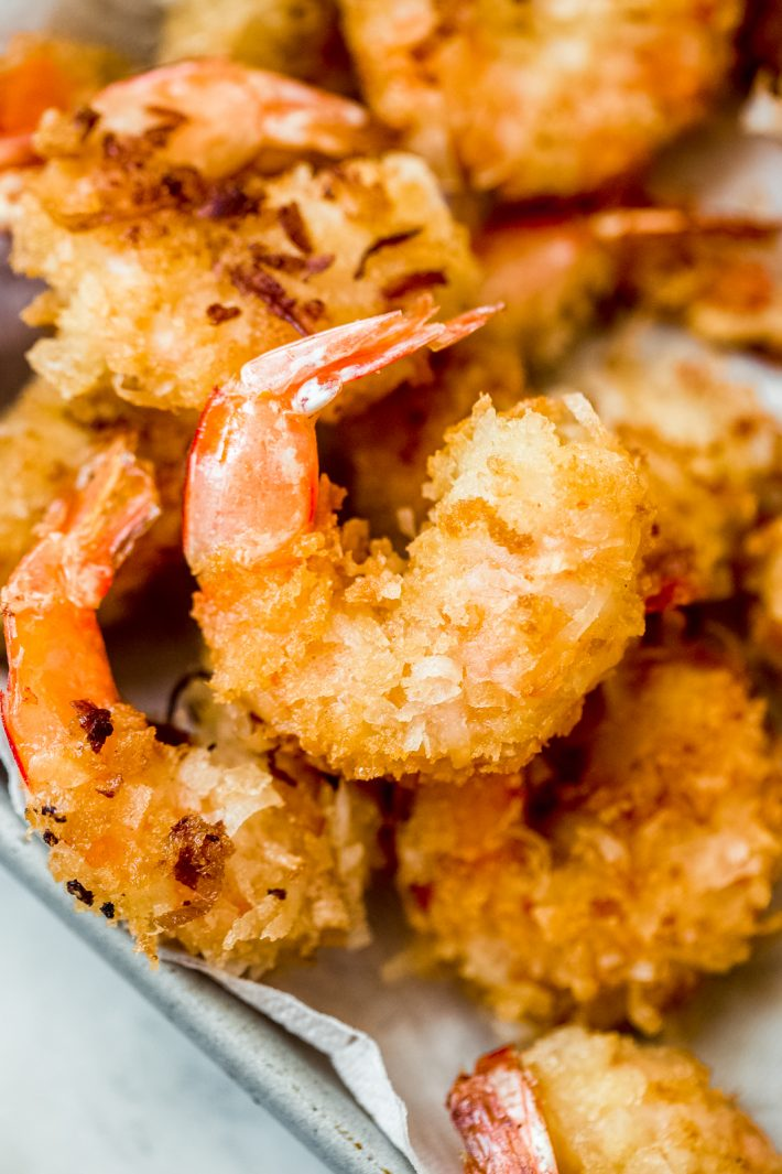 close up of coconut shrimp