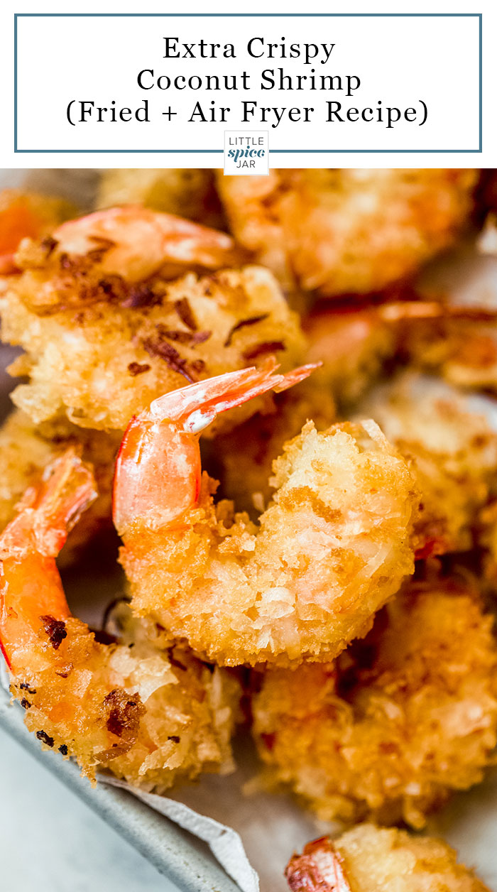 close up of fried crispy coconut shrimp from the top on sheetpan