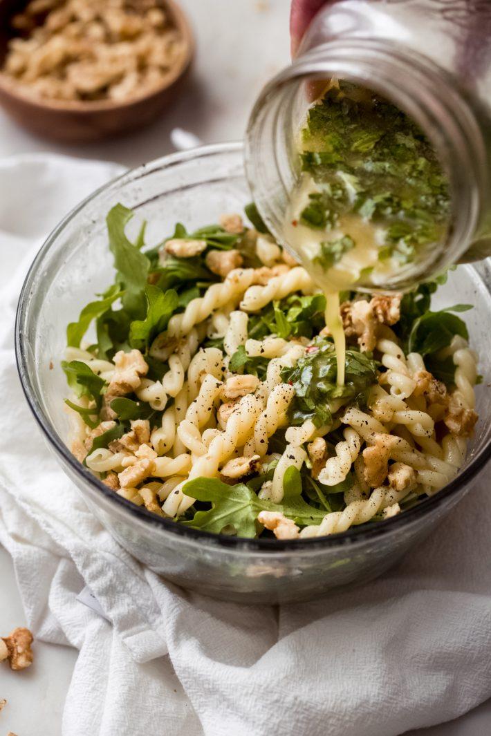 tossing pasta salad with lemon basil salad dressing