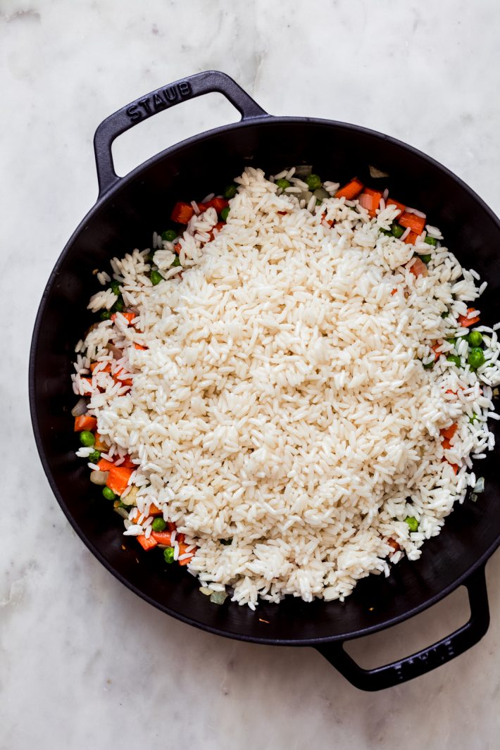 white rice added over veggies