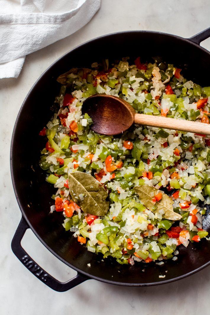 sautéed veggies for cuban black bean soup