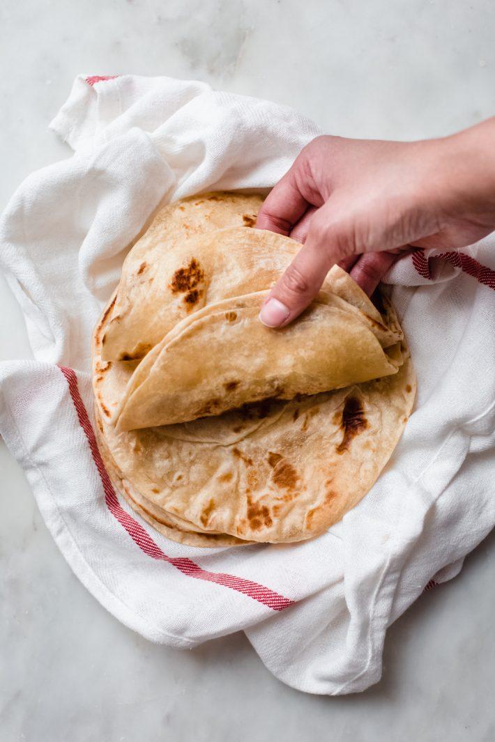 top shot of homemade tortillas