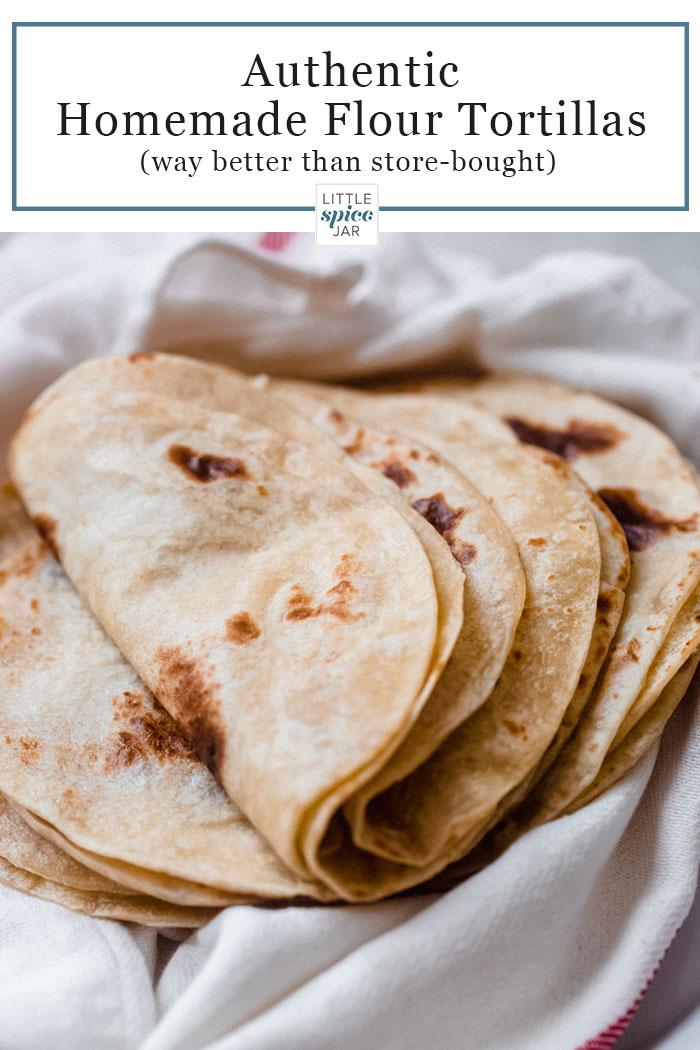 a stack of freshly made flour tortillas