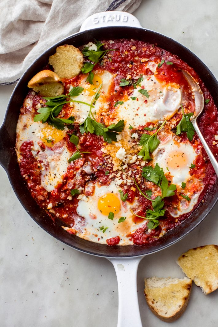 eggs poached in a spicy tomato sauce