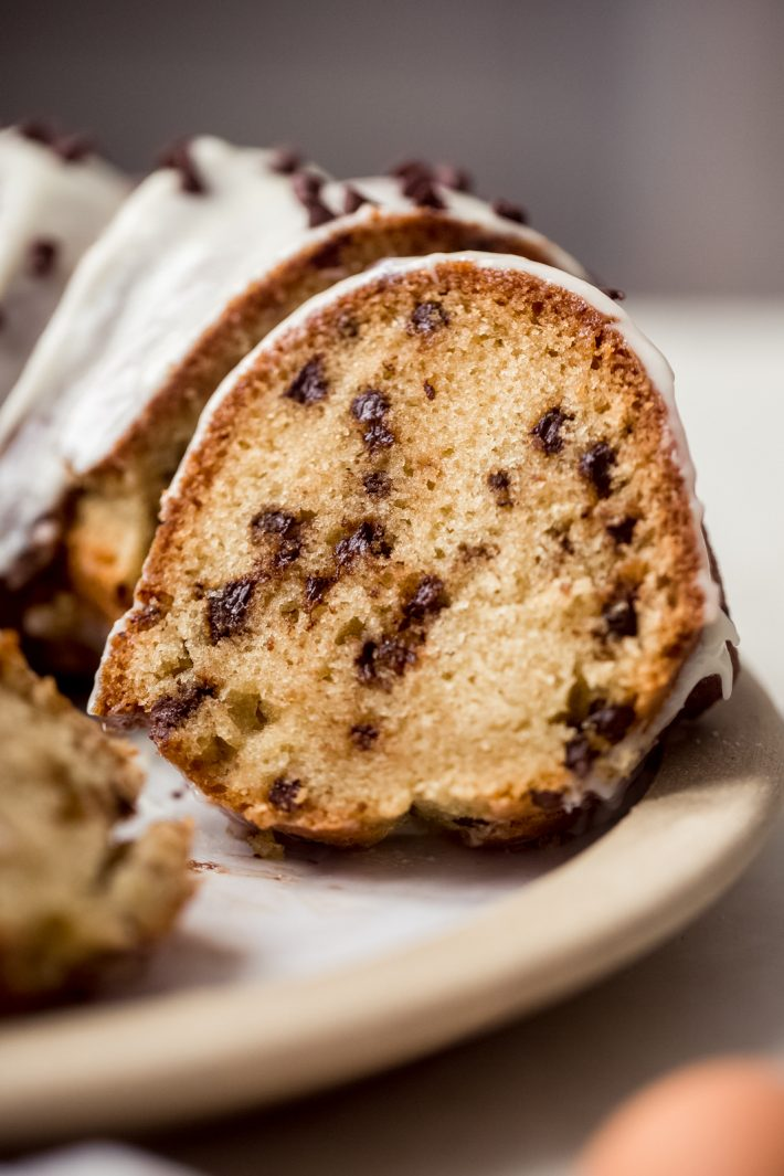 close up of chocolate chip bundt cake slice