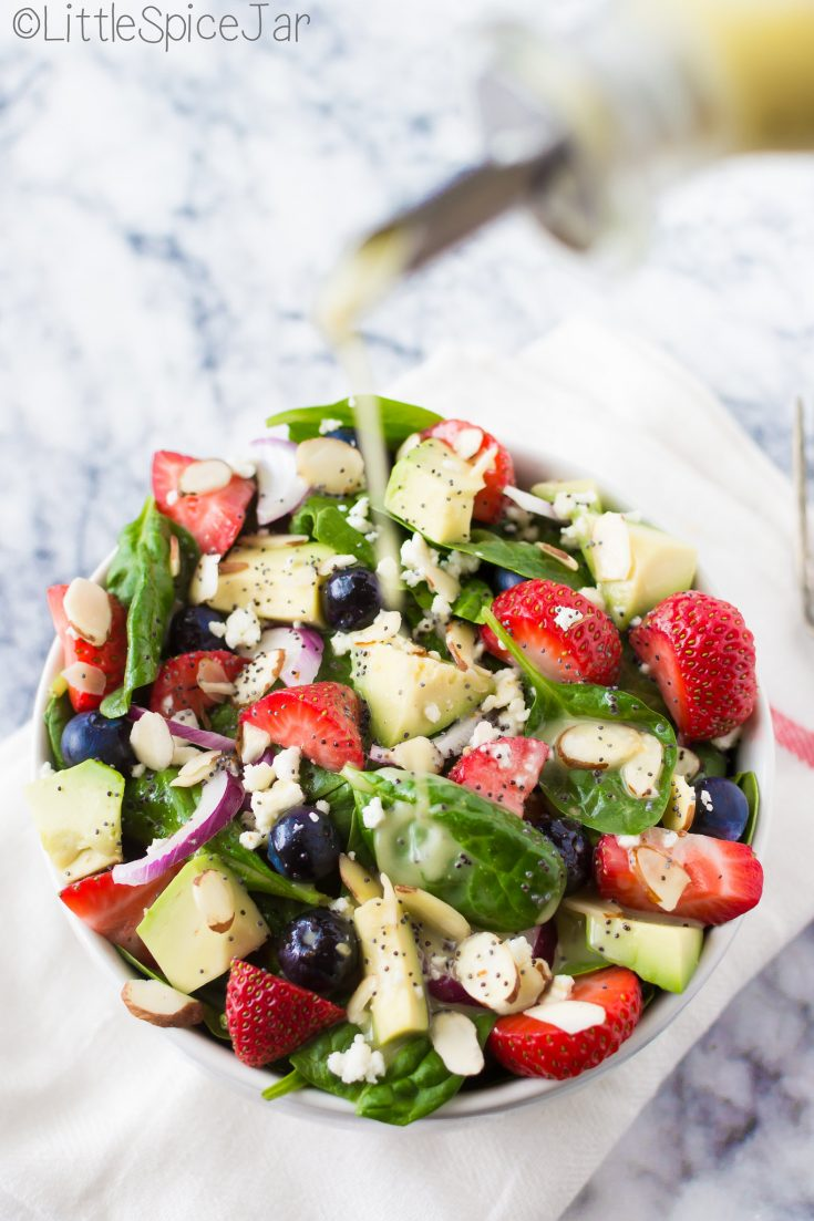 Berry Spinach Salad + Citrus Poppyseed Dressing