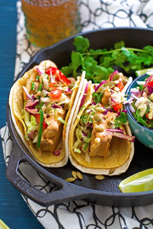 Crispy Fish Tacos with Margarita Slaw