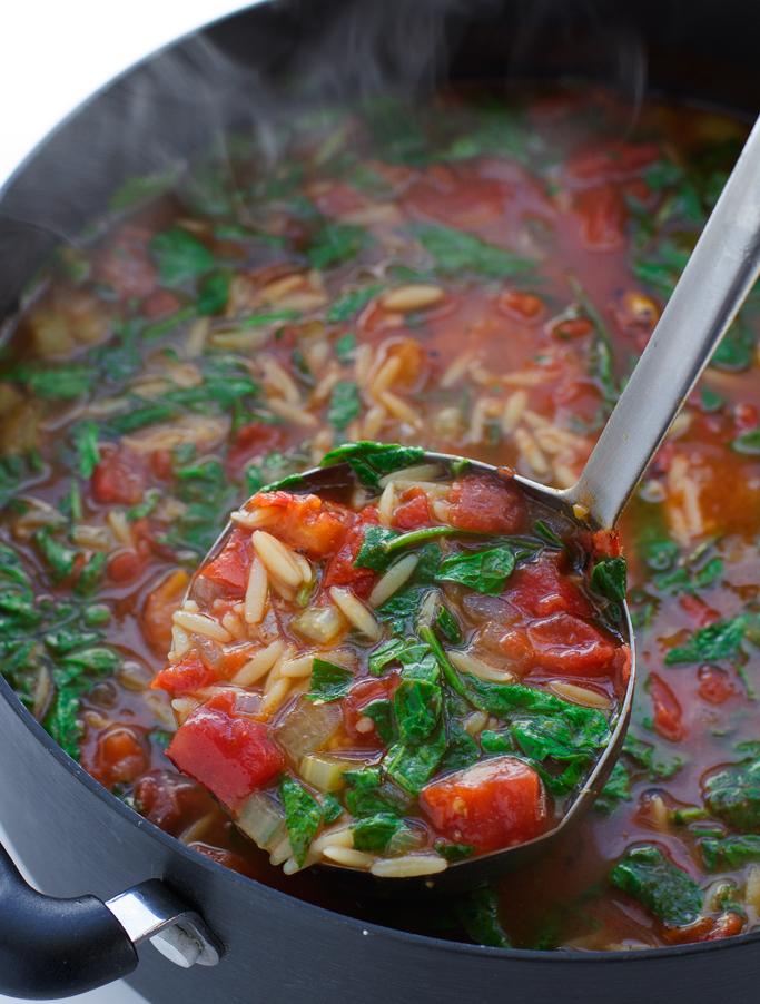 Italian Orzo Tomato Spinach Soup