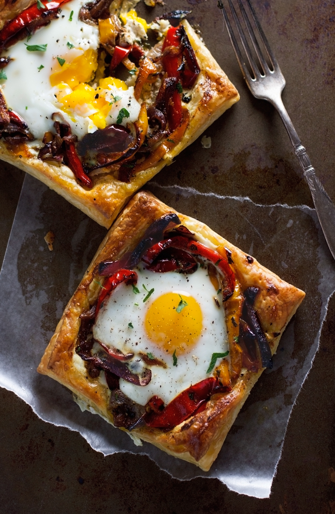 Roasted Red Pepper & Baked Egg Galettes