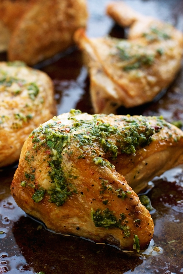 Quartered Roasted Chicken with Chimichurri Sauce