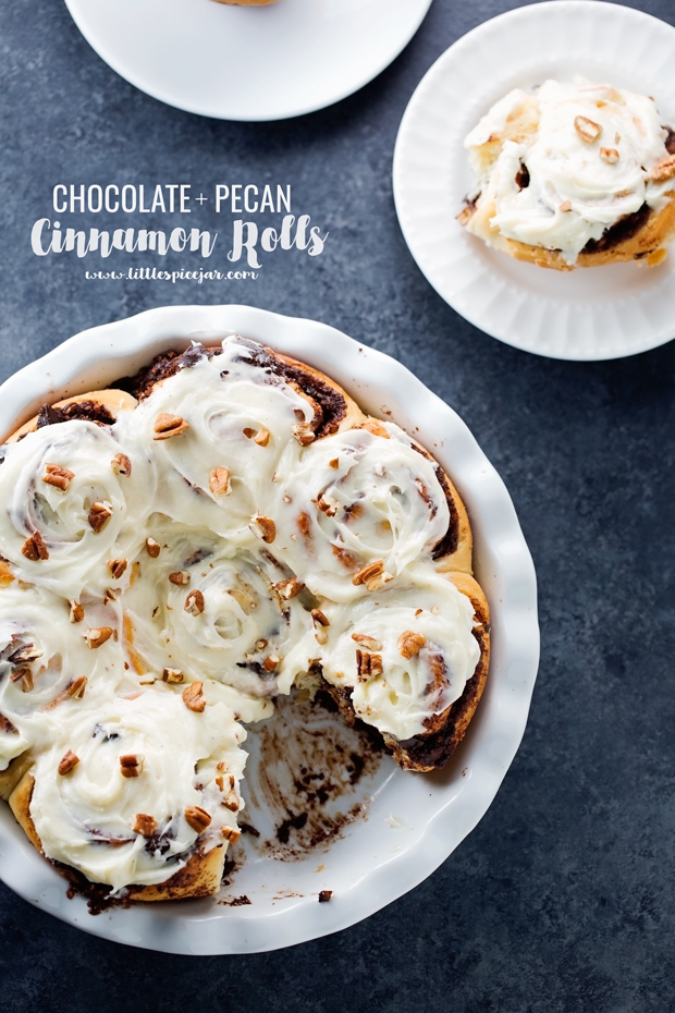 One Hour Chocolate Pecan Cinnamon Rolls with Cream Cheese Frosting
