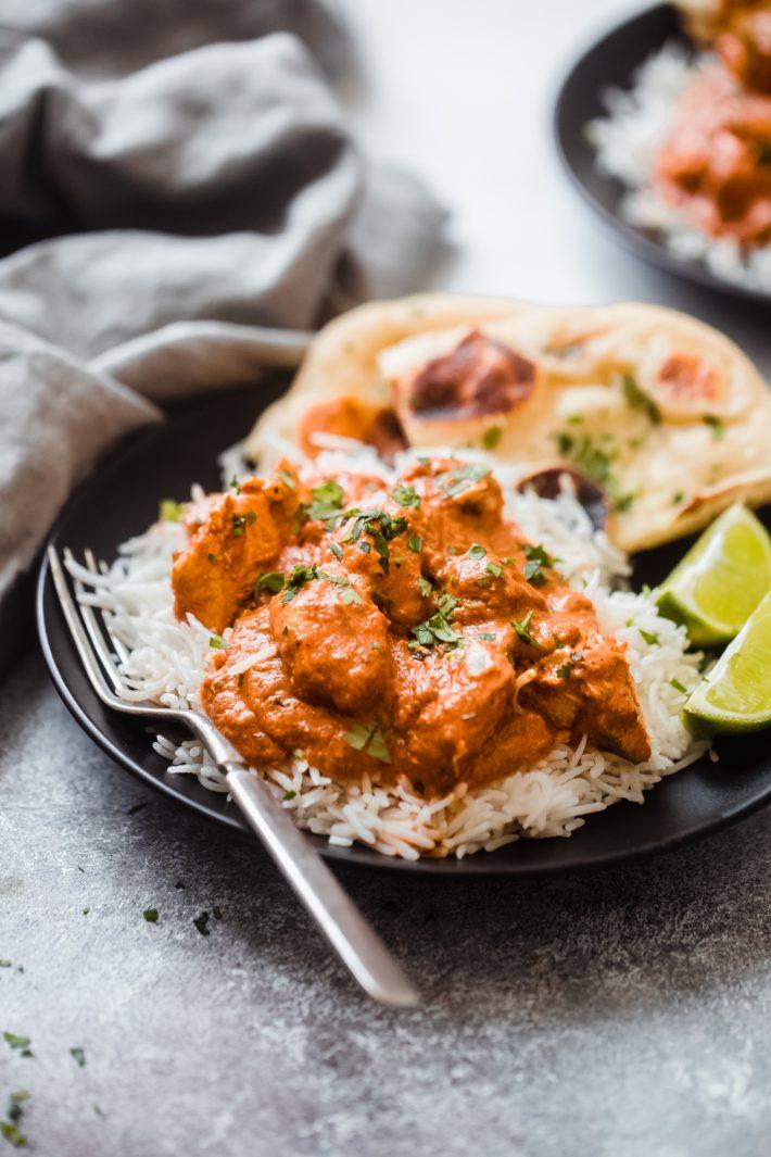 creamy chicken tikka masala with basmati rice