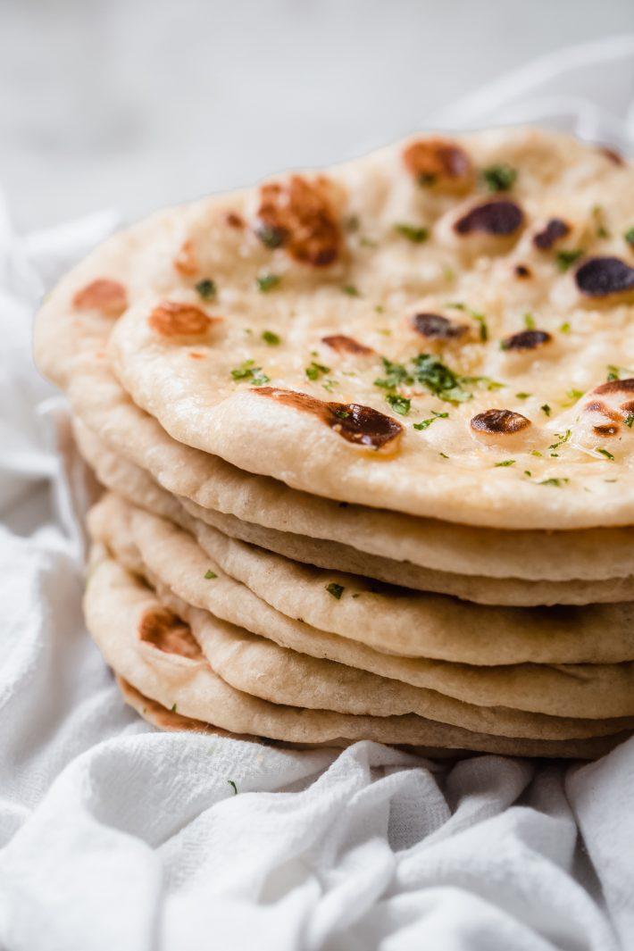 close up of garlic naan