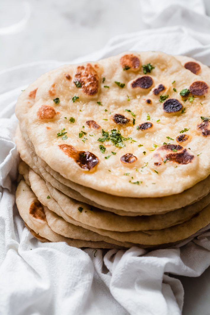 stack of homemade naan
