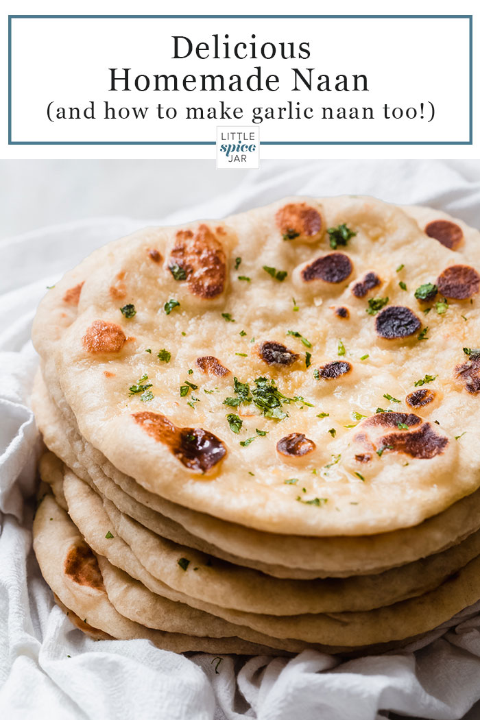stack of homemade naan with text for Pinterest