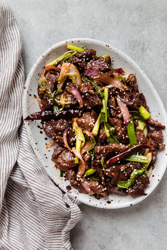 plated beef with scallions