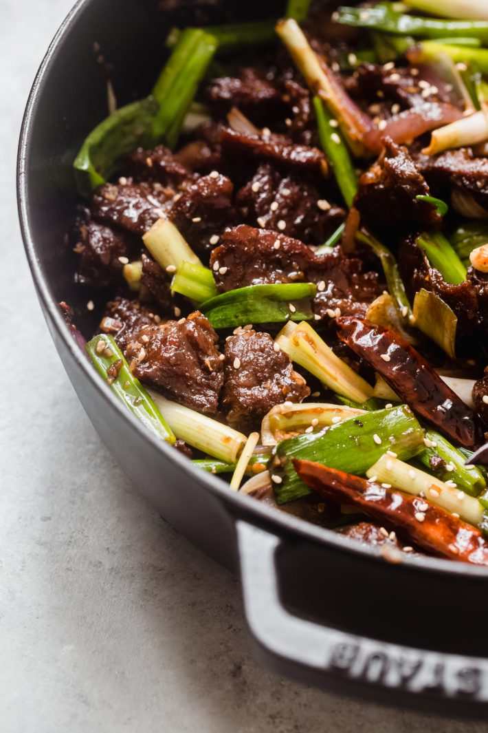 Prepared Mongolian Beef in a hot pan