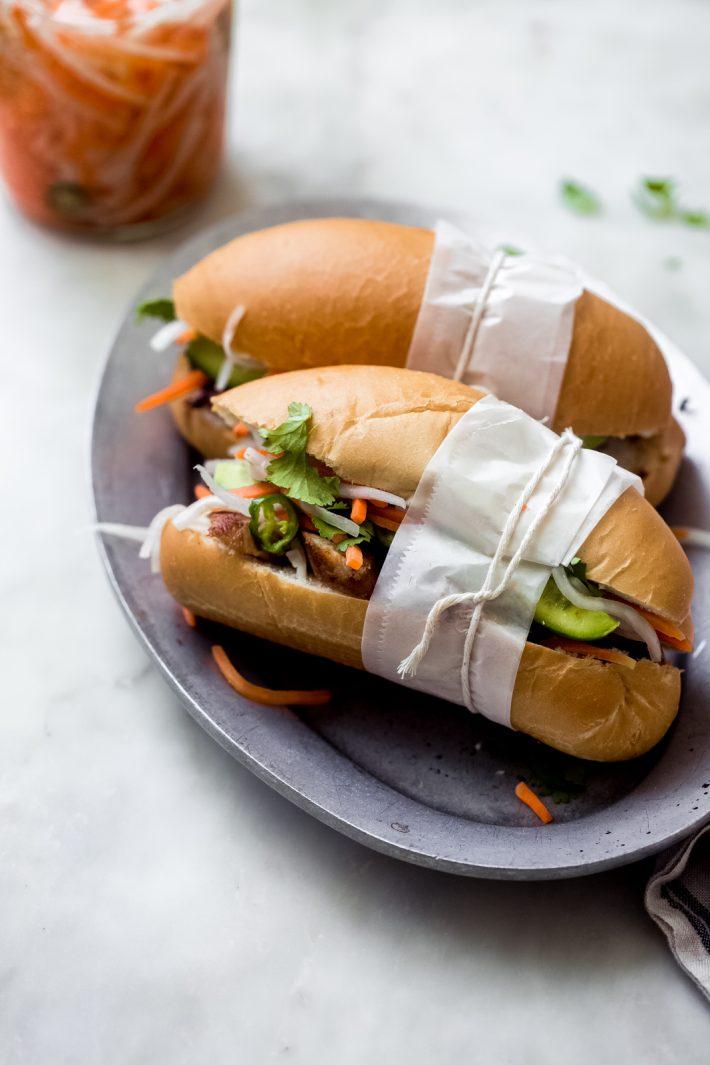 Vietnamese Banh Mi sandwiches on a plate