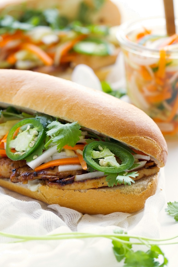 close up of chicken Banh Mi sandwich