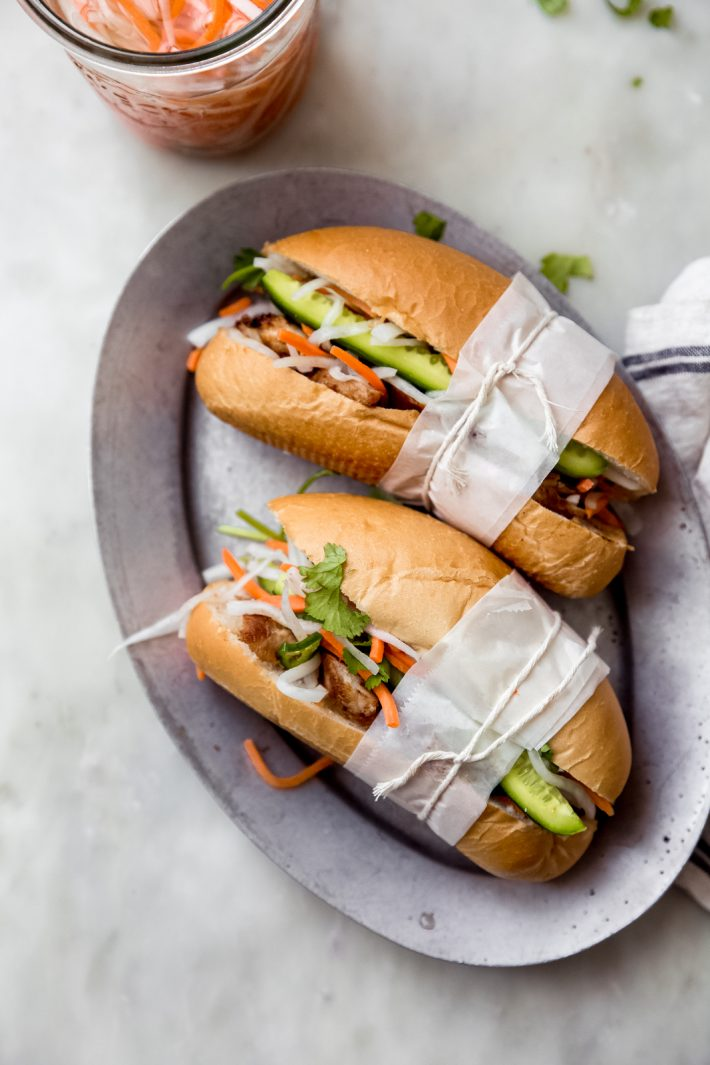 chicken Banh Mi sandwiches on a plate