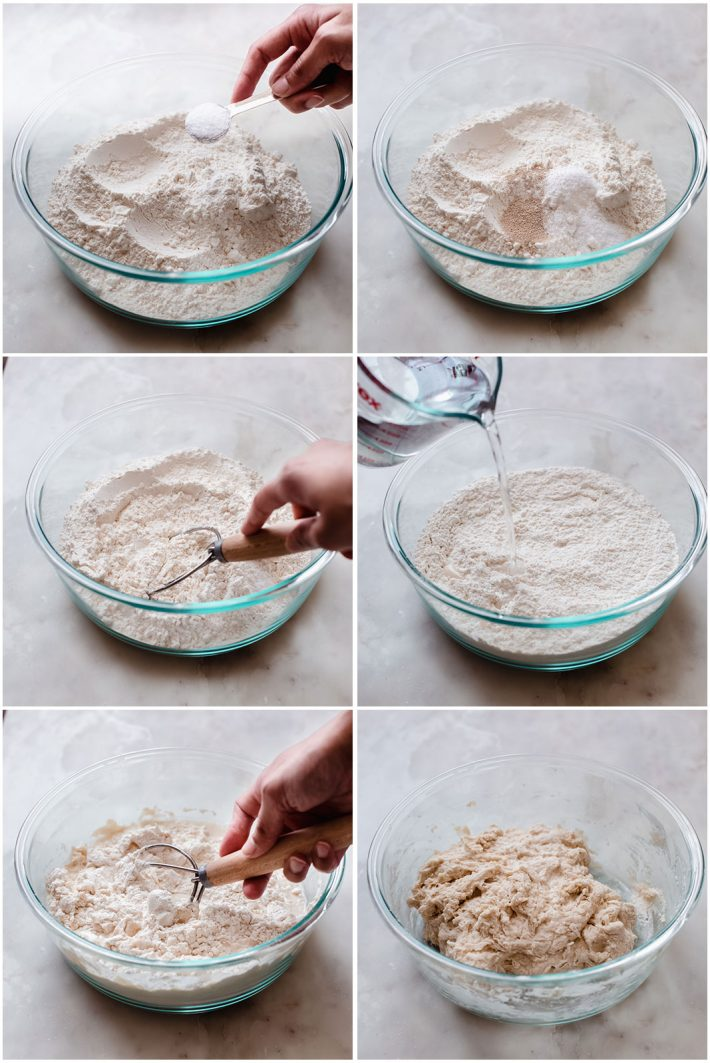 six pictures showing the ingredients, mixing and finally mixed no knead pizza dough
