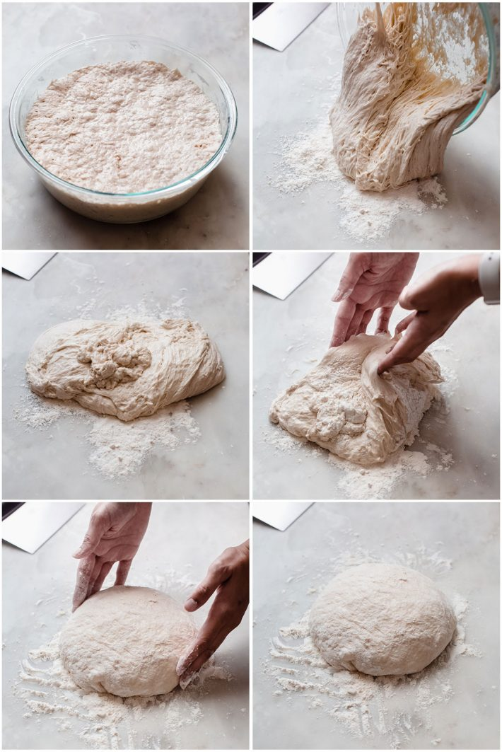 six pictures showing how to shape the pizza dough before dividing