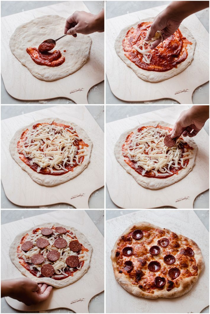 six pictures showing on to spread sauce, place cheese, and pepperoni on a crust and after baking