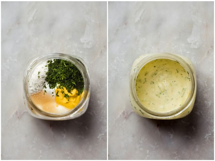 two images showing sour cream ranch dressing before and after whisking