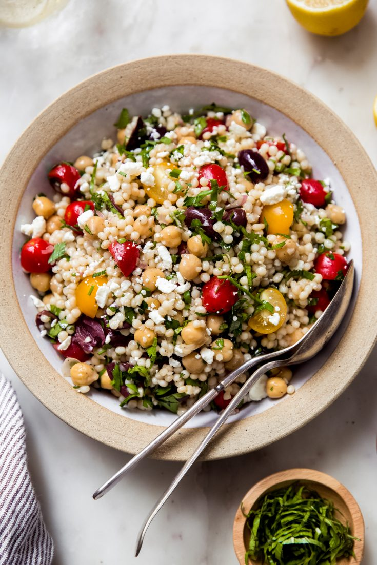 Israeli Couscous Chickpea Salad with Feta and Fresh Herbs