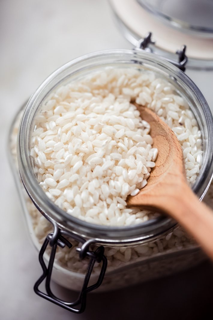 close up of dry arborio rice