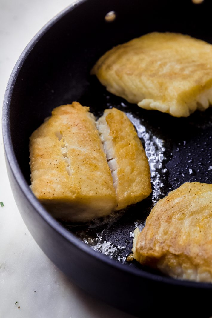 pan fried fish in nonstick skillet