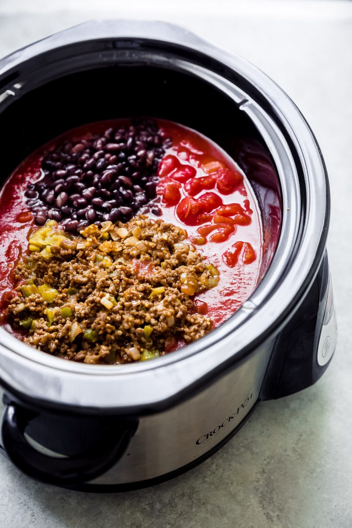 ingredients for chili in slow cooker
