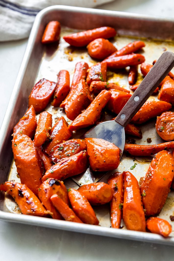 garlic butter roasted carrots on sheet pan