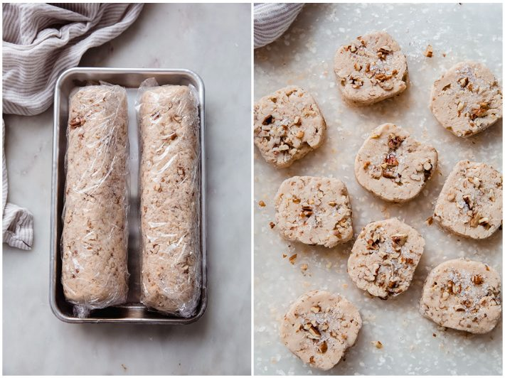 logs of pecan cookies and sliced log