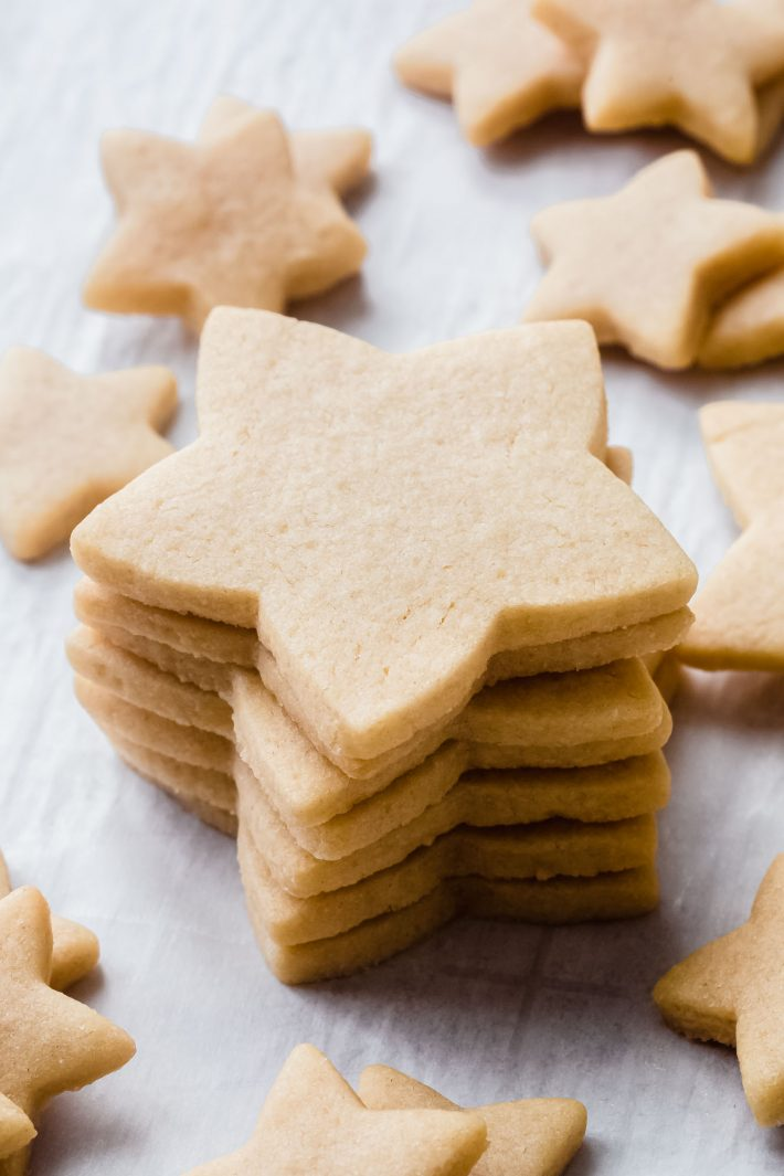 stack of star shaped cookies on white parchment
